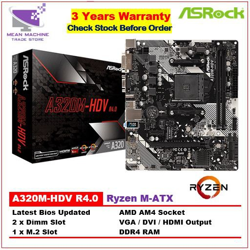 #Asrock A320M-HDV AM4 M-ATX DDR4 Motherboard For Ryzen (Bios Latest)#