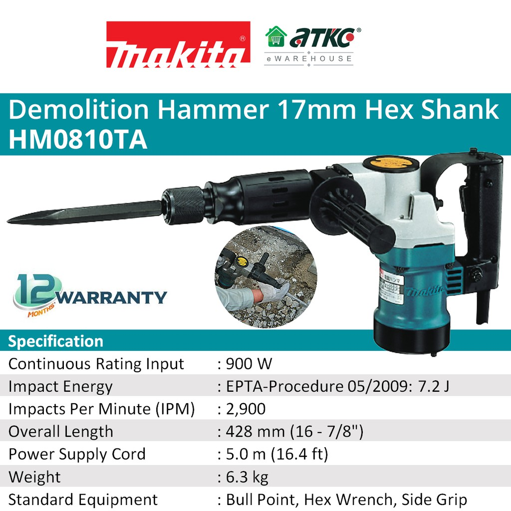 MAKITA HM0810TA Demolition Hammer 900W