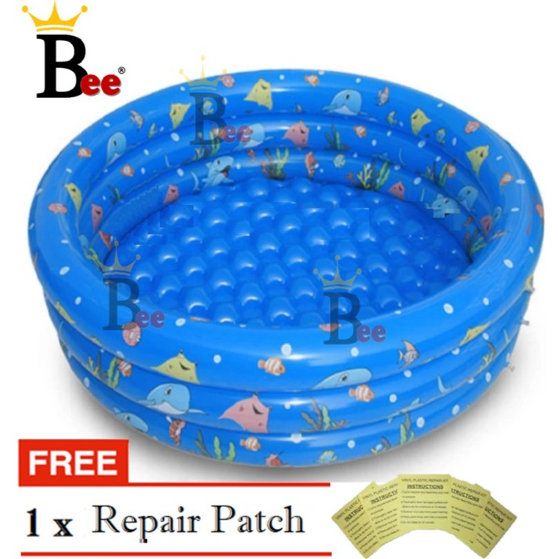【Free: Repair Patch】Inflatable 100cm 130cm PVC Swimming Pool 3 Ring KOLAM  KANAK