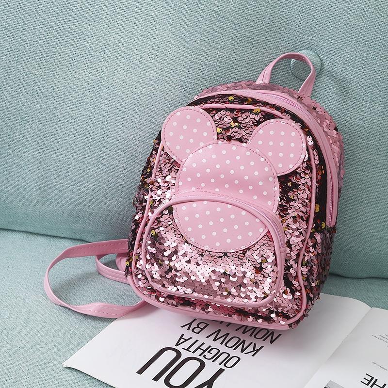Baby girls backpacks kids kindergarten mickey ears princess bags diamond rivets