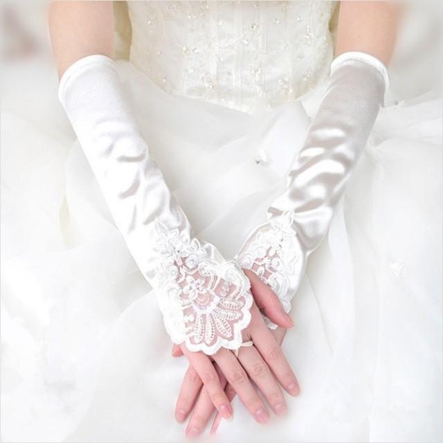 e60efdc98eb Women Bridal Bridesmaid Wedding Glove Fingerless Lace Gloves Dress  Accessories