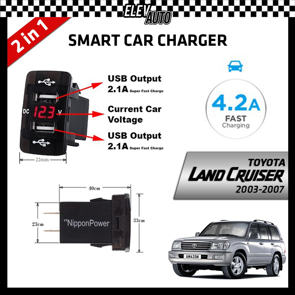 DUAL USB Built-In Smart Car Charger with Voltage Display Toyota Land Cruiser 2003-2007
