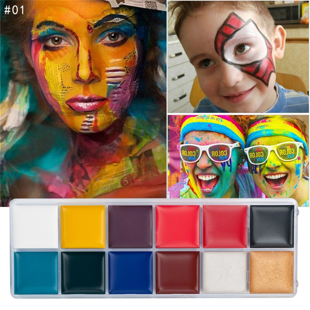 12 Colors Face Body Paint Oil Painting Art Make Up Set Kit Halloween Party Shopee Malaysia