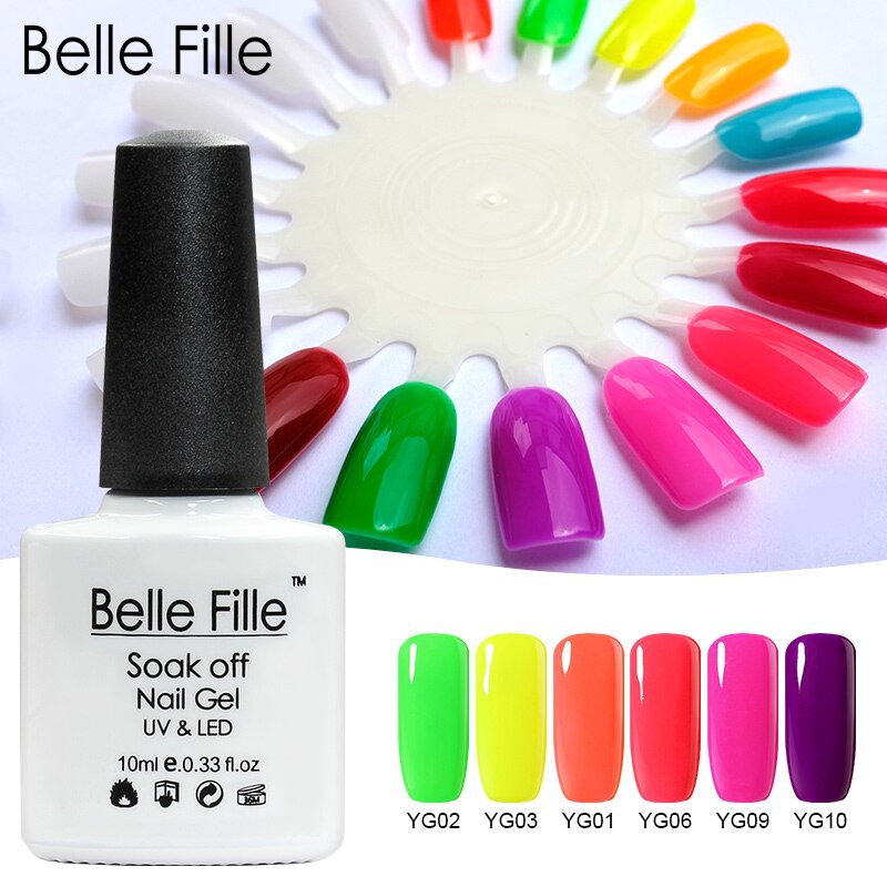 528f0087c7 Belle Fille Lacquer Manicure Varnish UV Soak Off Neon Nail Gel Polish UV  Gel Nail Art Vernis Semi Permanent