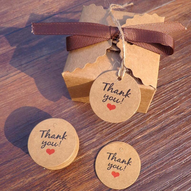 7d30dca02763 Round Thank you Brown DIY Kraft Paper Label Red Heart Gift Tags Handmade  Sticker Package