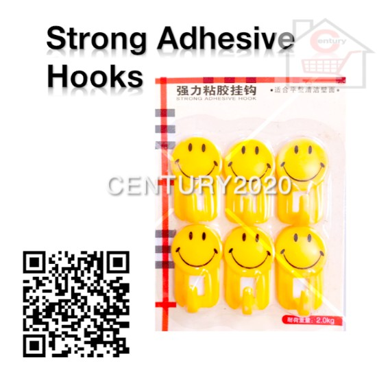 Strong Adhesive Hook Bathroom Kitchen Hook With Plastic Hook Small Smiley Hook