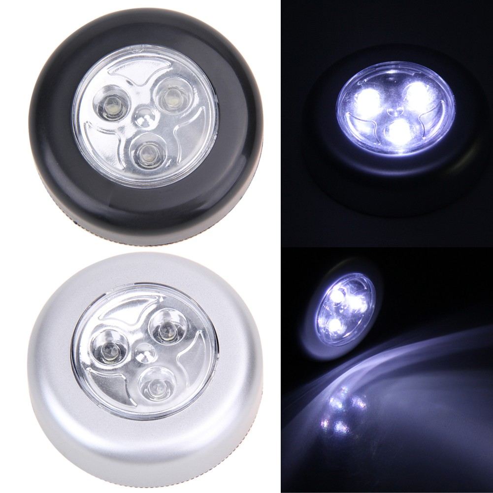 Lights & Lighting 4 Led Night Light Round Lamp Touch Control Under Cabinet Closet Push Stick On Lamp For Home Kitchen Bedroom Automobile Yet Not Vulgar