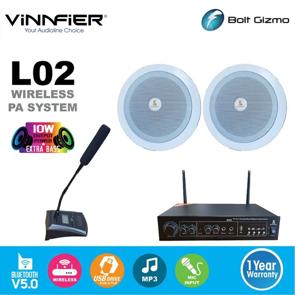 Vinnfier Smart Wireless Pa Systems Transmitter With Ceiling Speaker Bluetooth Usb Slot Conference Mic Actangol02 Sound Shopee Malaysia