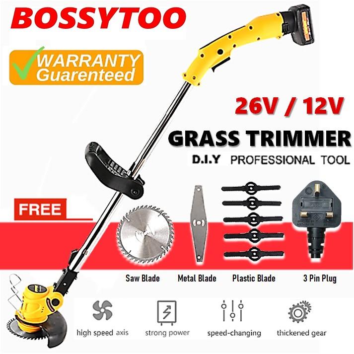BOSSYTOO 12V BGT12 26V BGT26 Electric Cordless Grass Trimmer Cutter Mower lawn Machine Mesin Gunting Potong Rumput