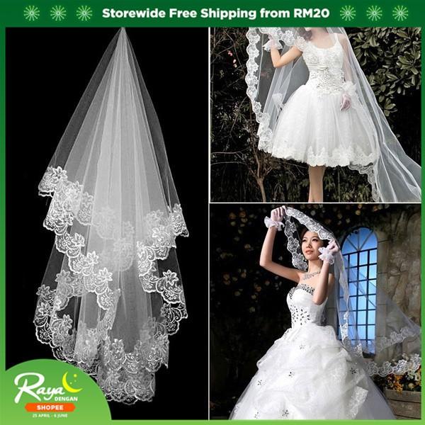 79487a38a06d9 Elegant 1 Layer White Elbow Tulle Lace Edge Bride Wedding Bridal Long Veil