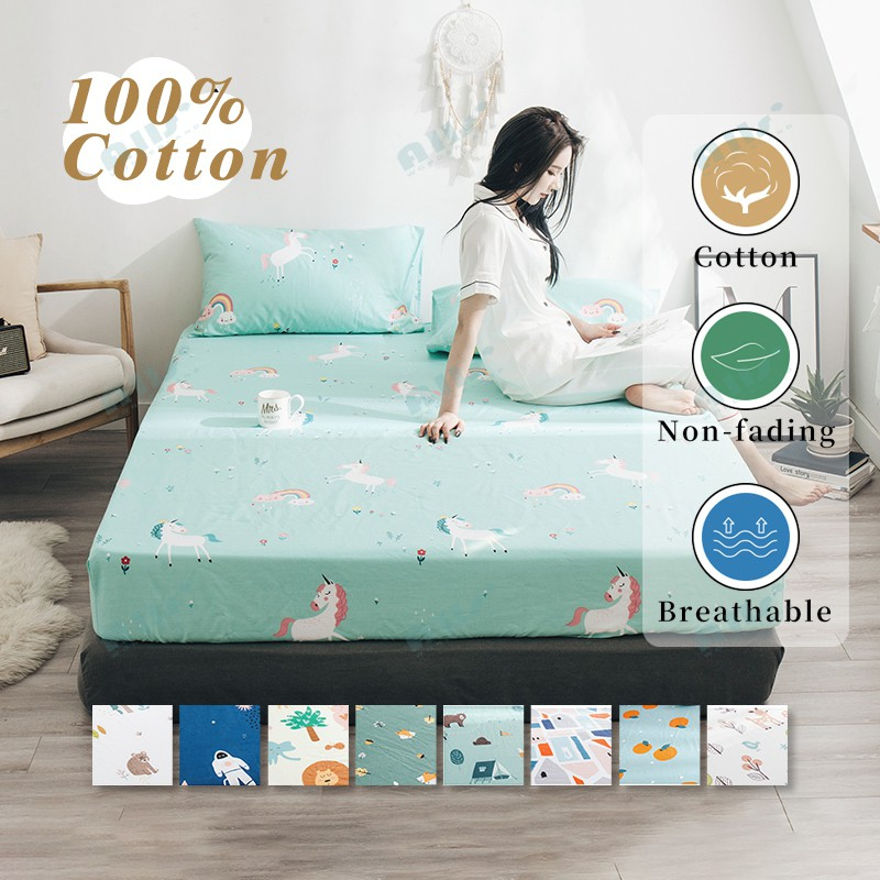 Cotton Single Queen King Size Fitted Sheet With Pillowcases Set No Flat Sheet