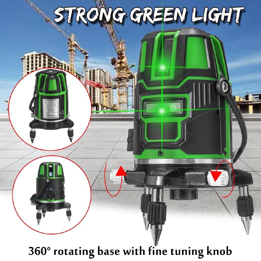 Green LIGHT 5 Line Laser Level Machine 4V1H1D Rotation 360°  Professional Laser Level Machine