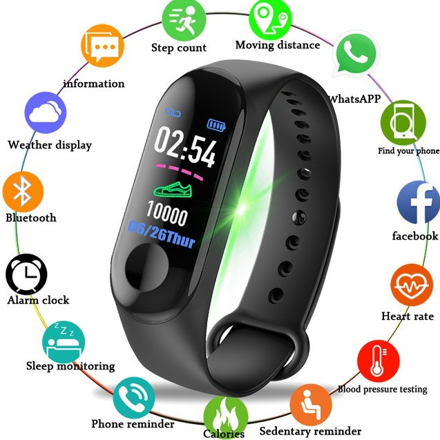 Ready Stock❤️ M3 Bluetooth Smart Watch Fitness Tracker Smartband Heart Rate  Blood Pressure Mi Band 3 Killer