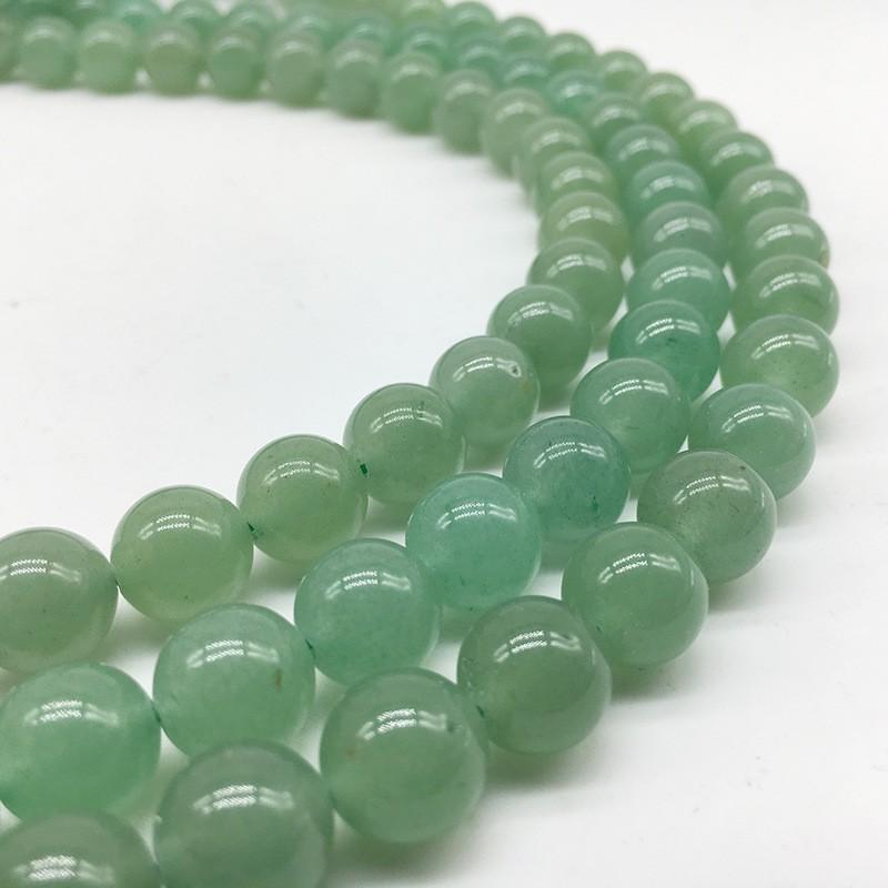 8mm Natural Green Aventurine Jade Round Stone Loose Bead for Making Bracelet