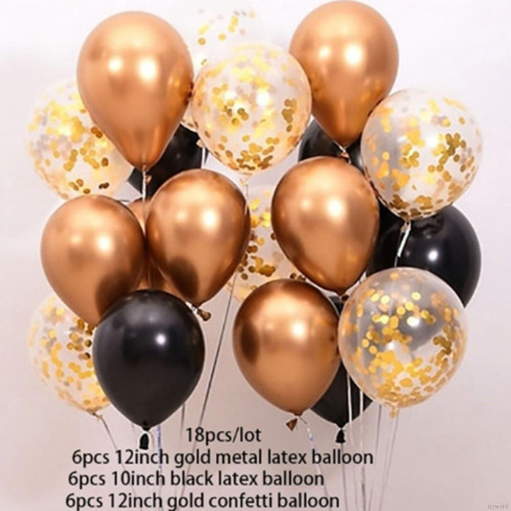 """Gold and Black Pack 45 12/"""" Birthday Latex Confetti Balloon Party Decoration"""