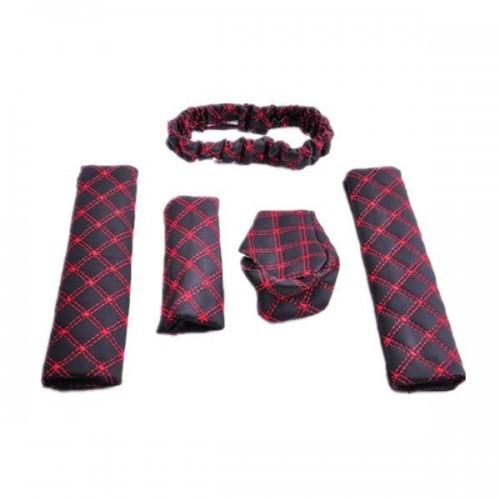 Handbrake Grips+Rearview Mirror Cover+Collars Gear+Car Shoulder seat belts pad