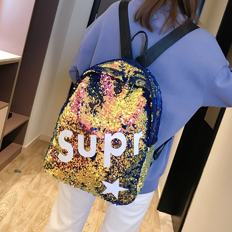 18ea58feade8 Fashion Woman Backpack Sequins Bling Glitter Shoulder Begs Large Capacity  Travel School Bag