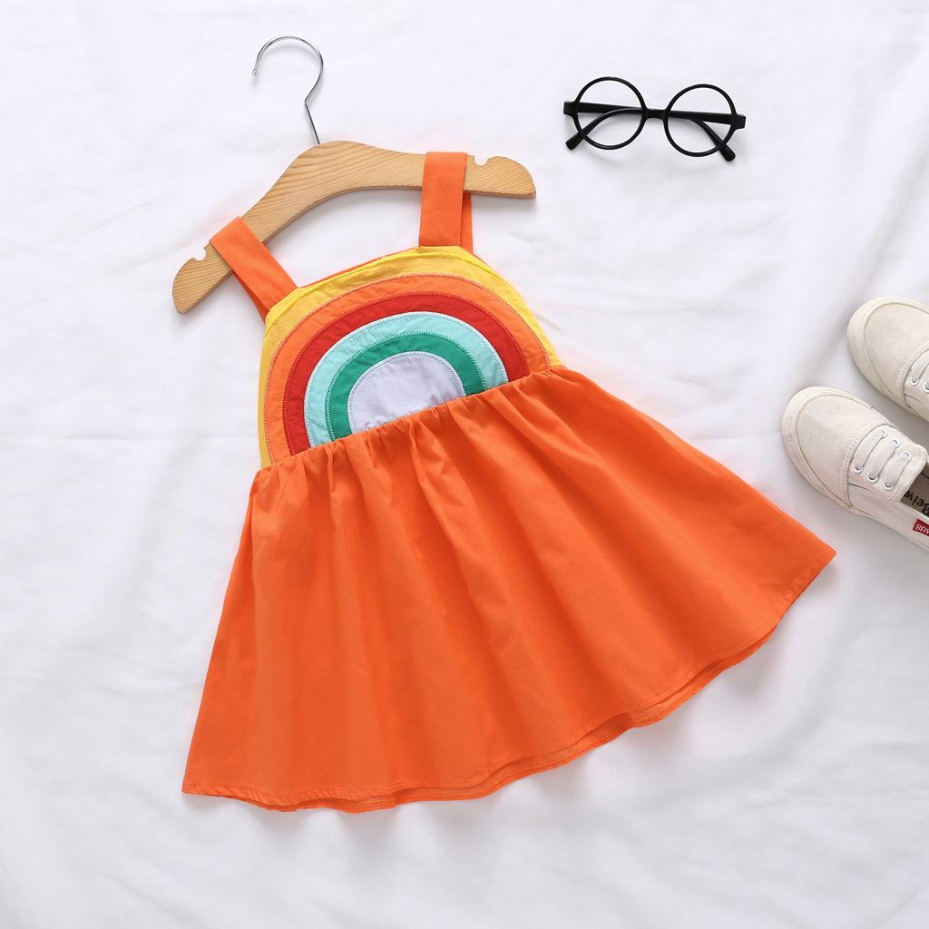 a74088af28b4c 2019 New Baby Girl Backless Rainbow Sling Dress Casual Holiday ...