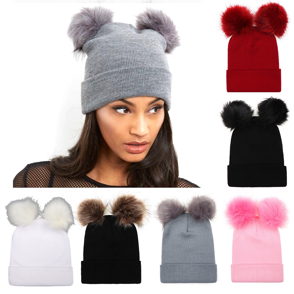 Women Soft Solid Autumn Winter Double Ball Knitting Hat Faux Fur Pompom Girl