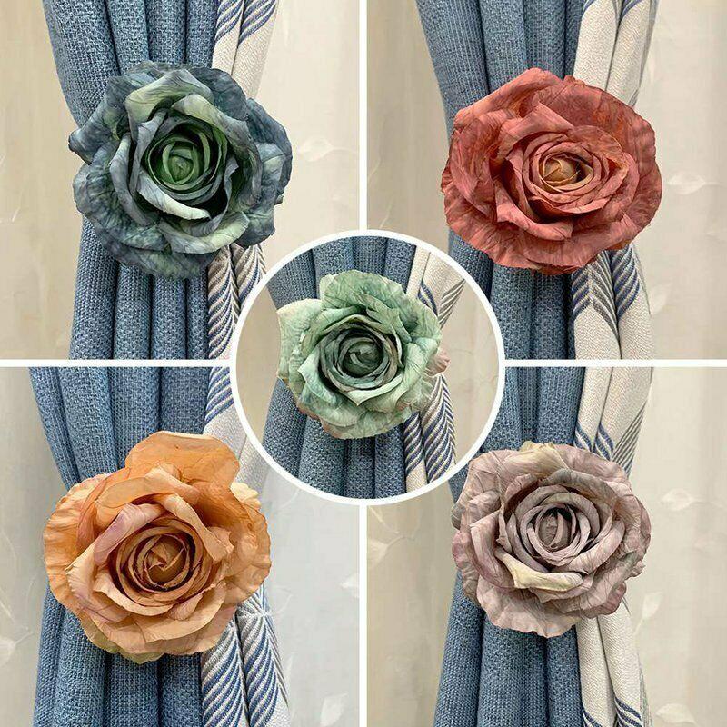 Happy Home Rose Flower Tie Backs Holdbacks For Voile /& Net Curtain Panels