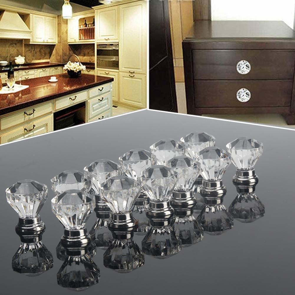 12Pcs Crystal Glass Diamond Cabinet Knob Drawer Cupboard Door Handle Pull Set