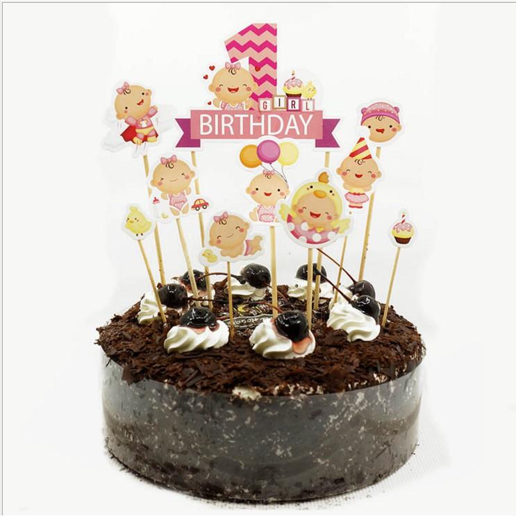 Outstanding Baby 1 Year Old Birthday Cake Cupcake Topper 9 10Pcs Shopee Funny Birthday Cards Online Inifodamsfinfo