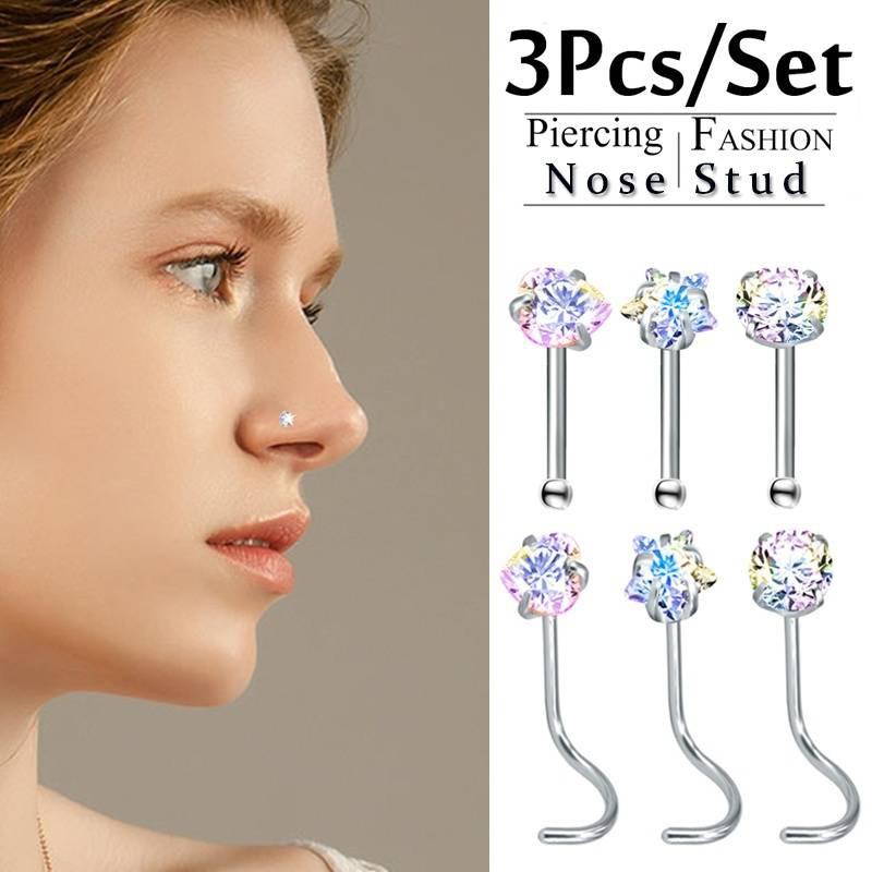 3 Pcs Diamond Rainbow Heart Star Round Nose Rings Shopee Malaysia