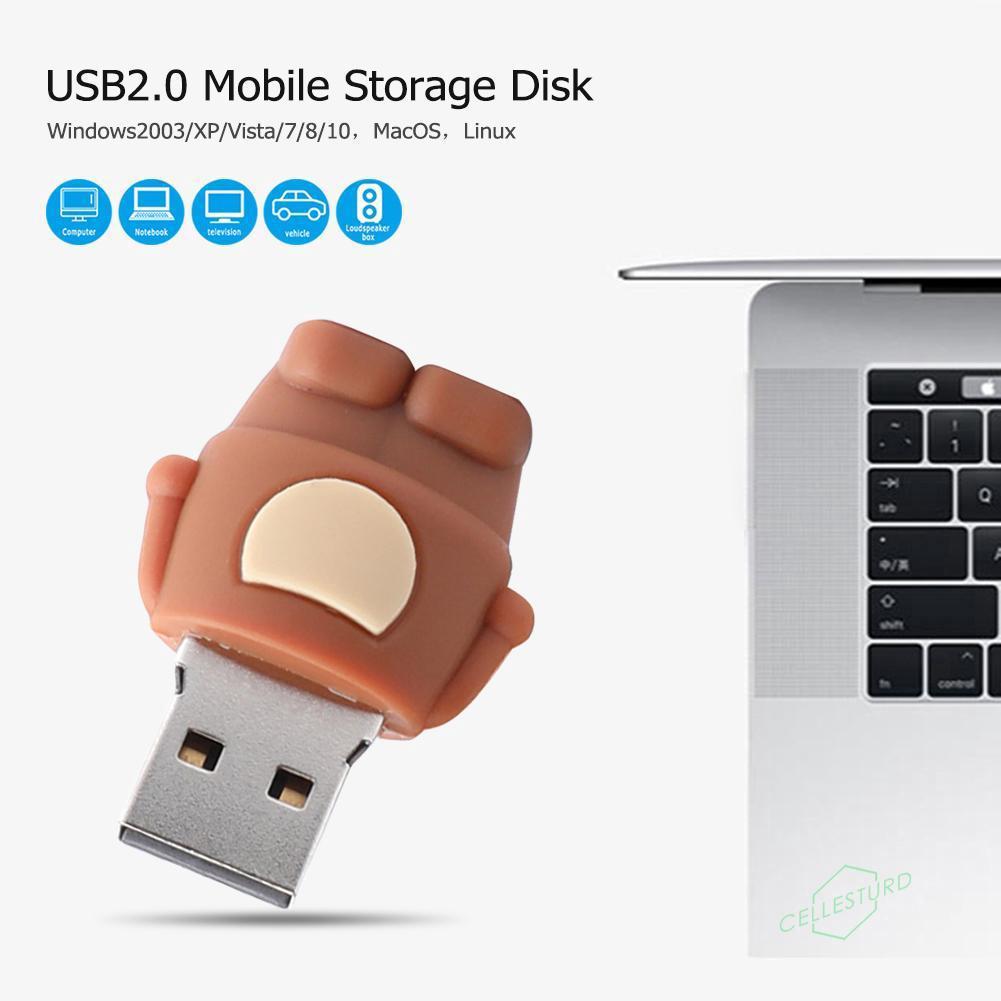 cs✲✲Cute Monkey PVC USB 2 0 Flash Drive U Disk Memory Data Storage Device