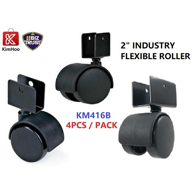 Heavy Duty 50mm Flexible Wheel Casters Roller With 16mm U Bracket