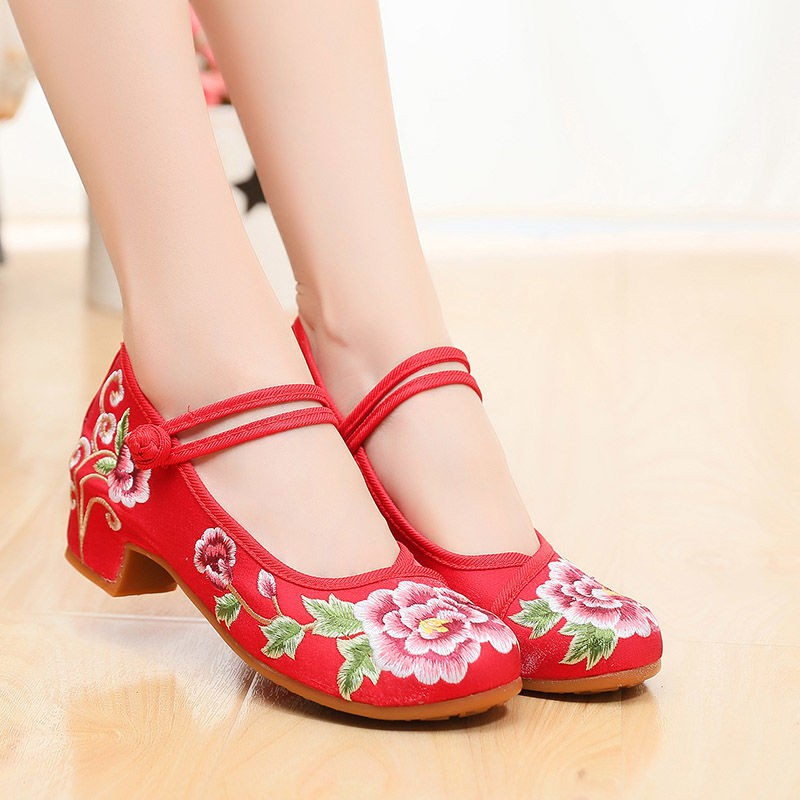 Vintage Design Chinese Shoes Embroidered Flats Cheongsam Shoes 03