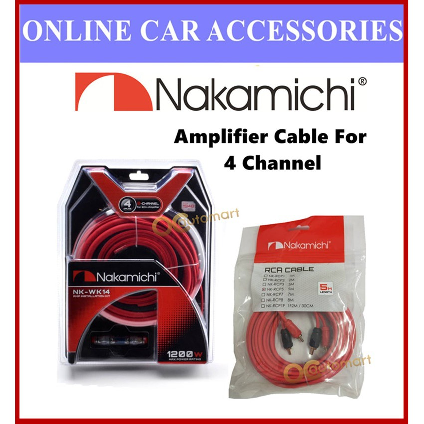 Nakamichi 4 Channel 4GA Wiring Kit NK-WK14 And 5 Meter RCA NK-RCP5 Cable Set For Amplifier 4-Channel