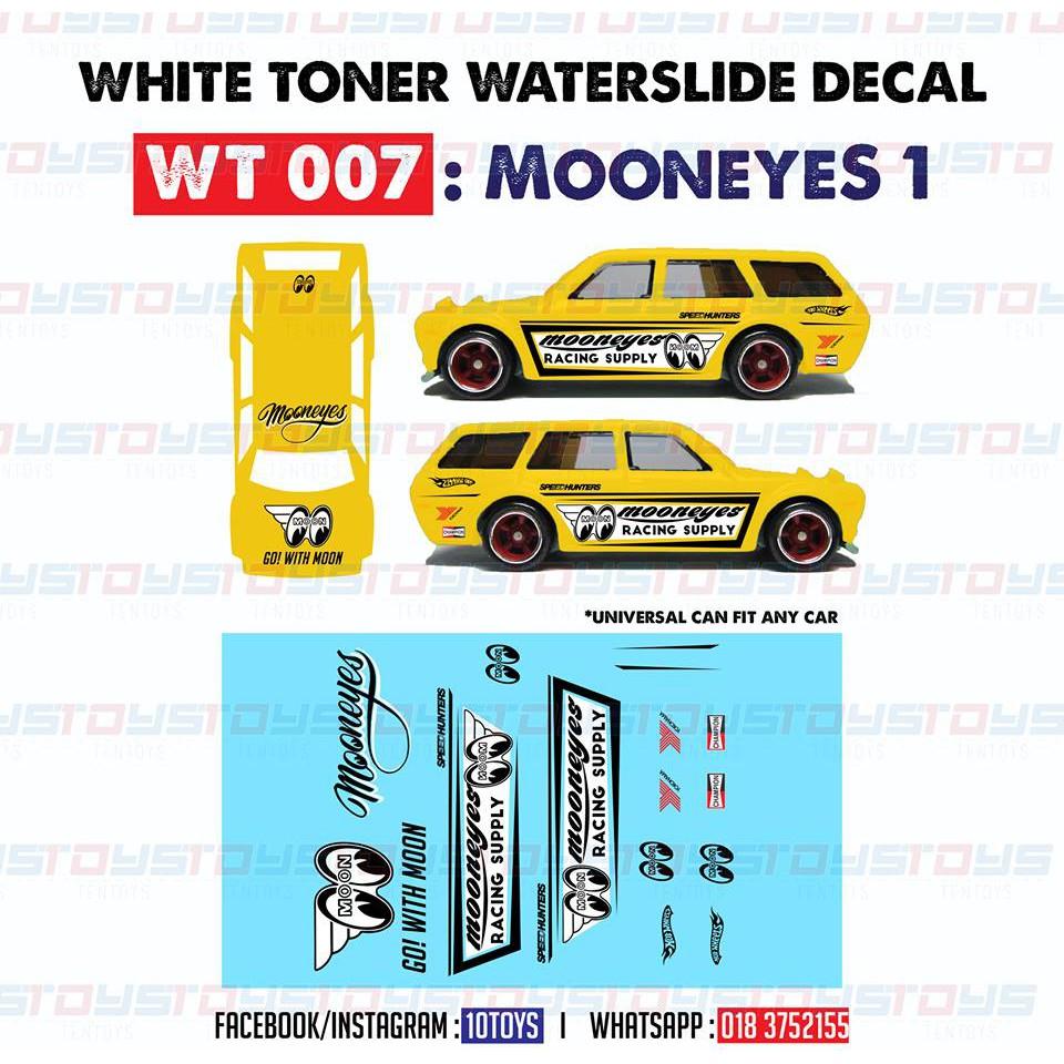 Hot wheels 1//64 white toner water slide decals