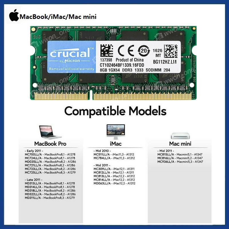 "Crucial 16GB 2x 8GB PC3L-12800 DDR3 Memory For Apple MacBook Pro 15/"" A1286 RAM"