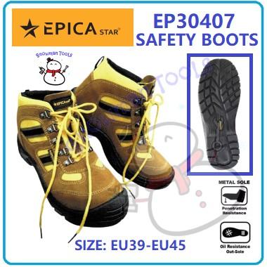 SAFETY BOOTS SHOE KASUT BESI EPICA STAR BRAND EP30407 OIL RESISTANCE NEEDLE RESISTANCE ANTI MINYAK ANTI JARUM STEEL TOE