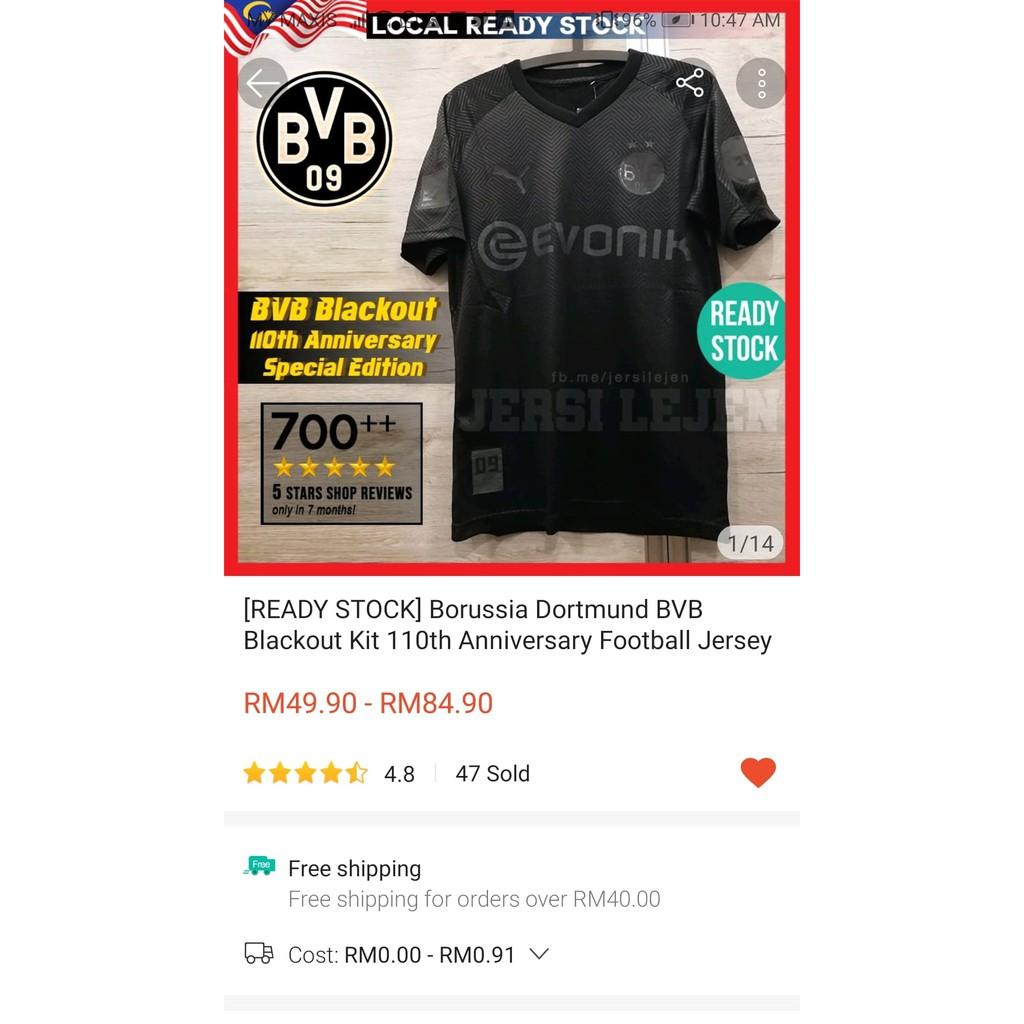 Ready Stock Bvb Dortmund Blackout 110th Anniversary Special Edition Football Jersey Actual Photos Size S 2xl Haaland Shopee Malaysia