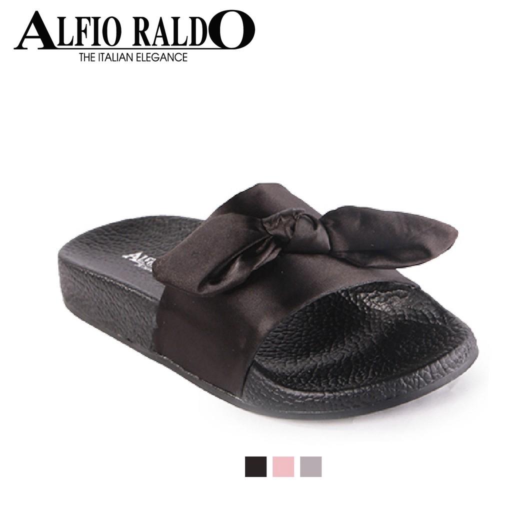 Alfio Raldo Black Soft Padding Sandal with Tied Bow