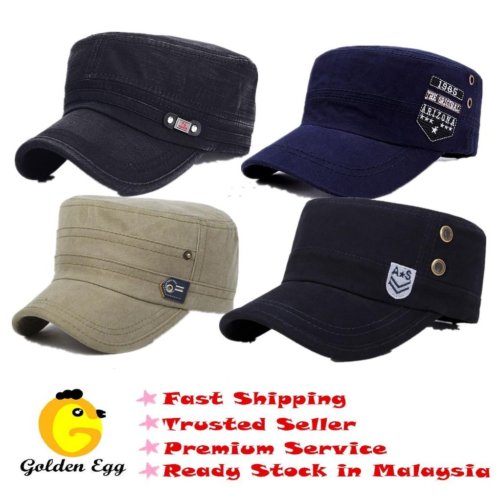f42eeeac59772 Stylish Plain Military Army Cap Castro Cadet Patrol Cap Hat Adjustable(Black)    Shopee Malaysia