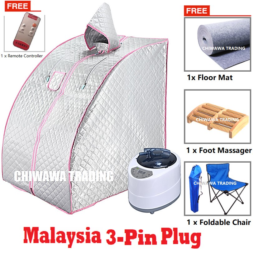 2.2L Steam Sauna Spa Tent Slimming Weight Loss Therapy + Chair + Massager + Mat