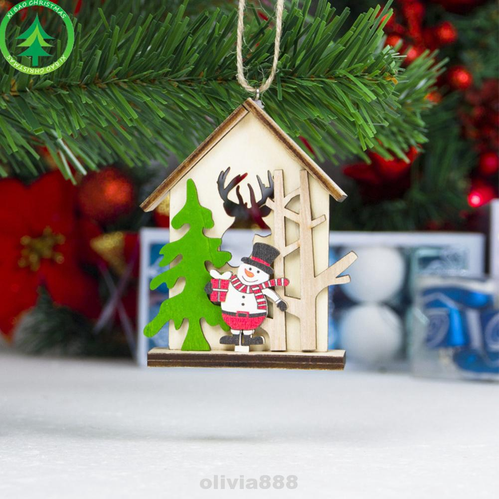 Elk Snowman Christmas Log Cabin Tree Decorations Chalet Home Decor Party Office For Festival Shopee Malaysia