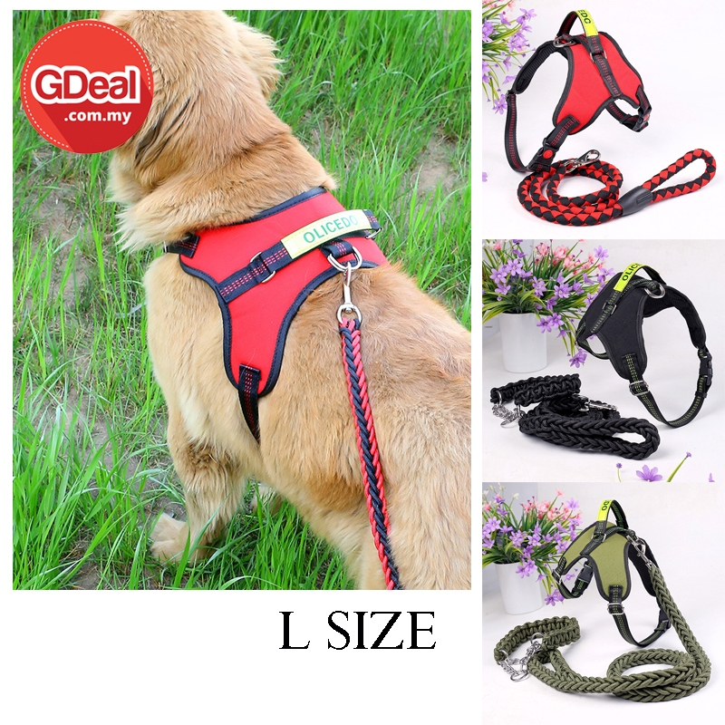 GDeal  Comfortable Dog Chest Strap Pet Leash With Traction Rope Collar Tali Anjing (L size)  تالي انجيڠ