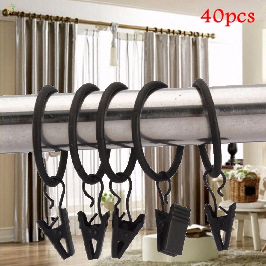 Sm 40pcs Curtain Rings With Clip Window Shower Curtain Rod Clips Rings Drapery
