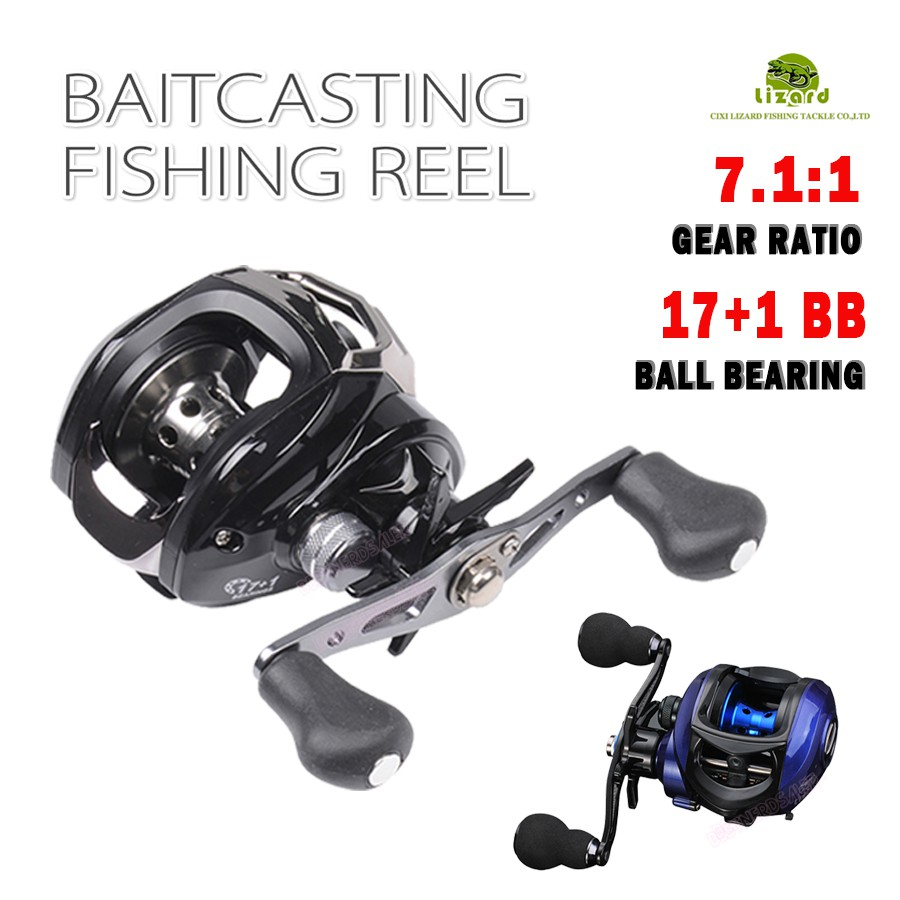 Lizard 6kg Drag Baitcasting Fishing 17BB Ball Bearing Wheel Reel 7 1:1  GearRatio