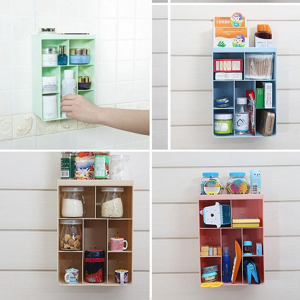 Bathroom Shelves Bathroom Fixtures 1 Pc Wall Shelf Creative Decorative Solid Wood Sundries Organizer Bookshelf Storage Rack For Storage Flower Pot Sunglasses Books