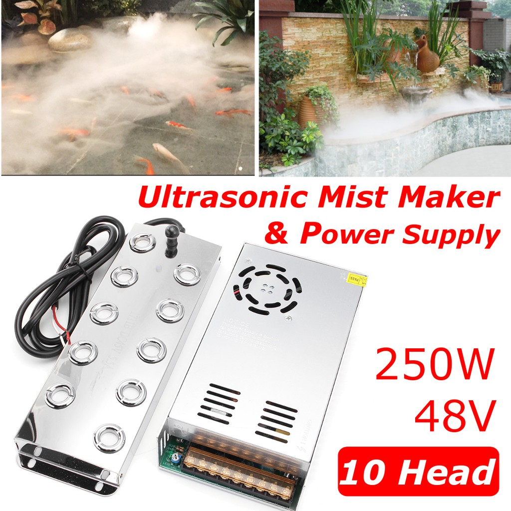 10 head Ultrasonic mist maker Industry fogger humidifier +Power Supply