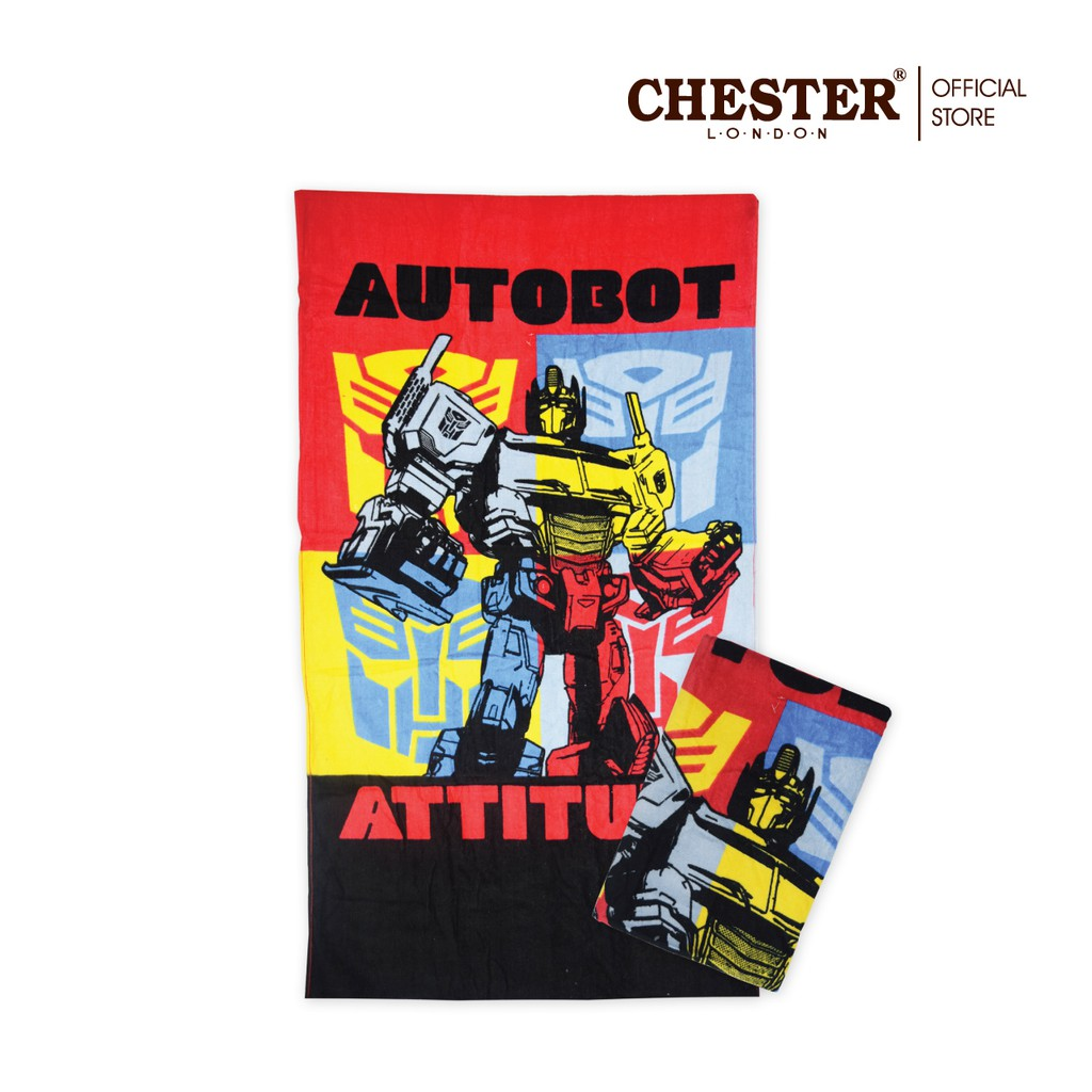 """Chester London 100% Cotton Transformers Towel - 27"""" X 54"""" - Red"""