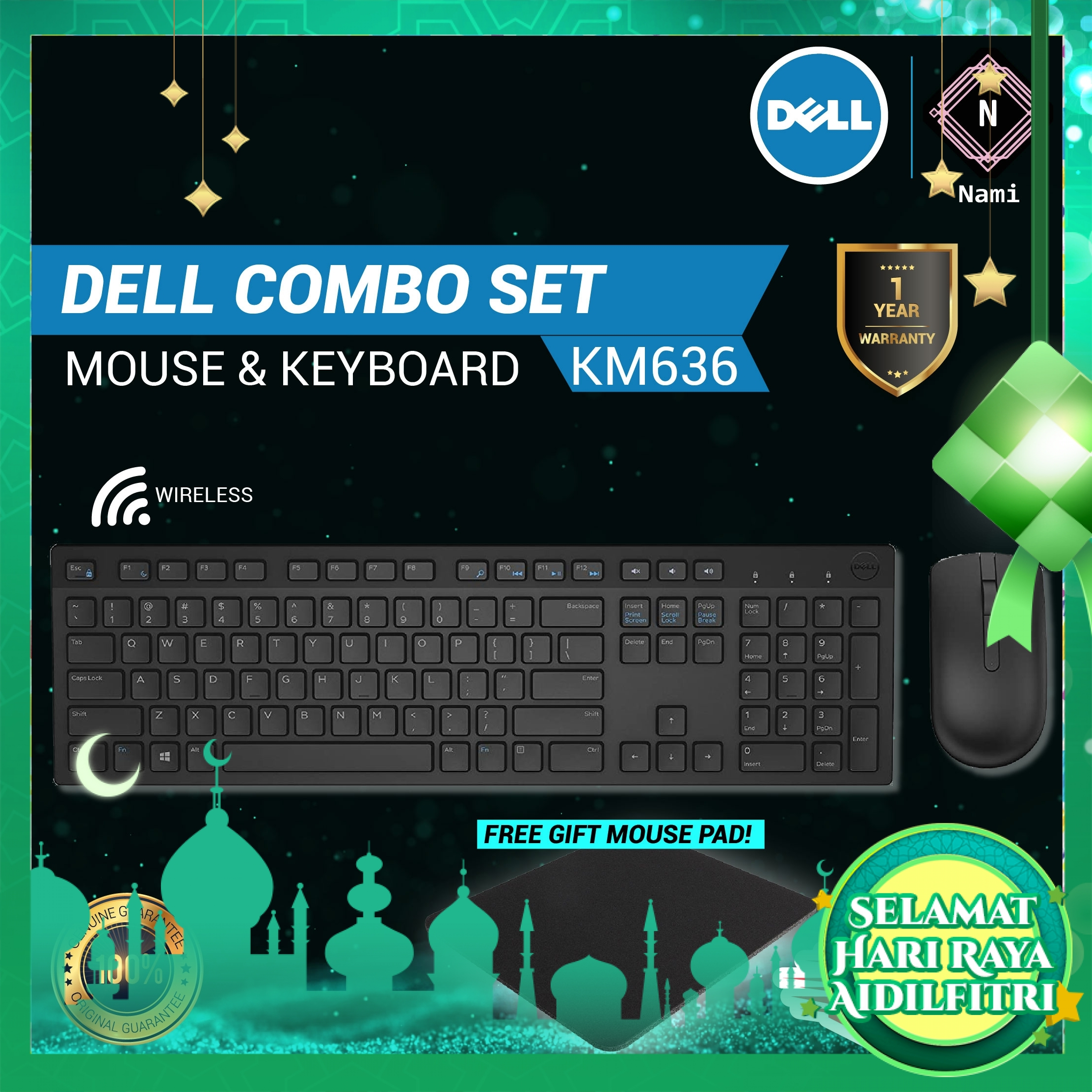 Original Dell Wireless Keyboard and Mouse - KM636 (Double Bubble Wrap Packing)