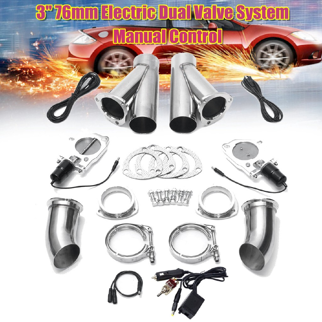 "Remote Control 3/"" Inch 76mm Electric Exhaust Downpipe E-Cut Cutout Valve Motor"