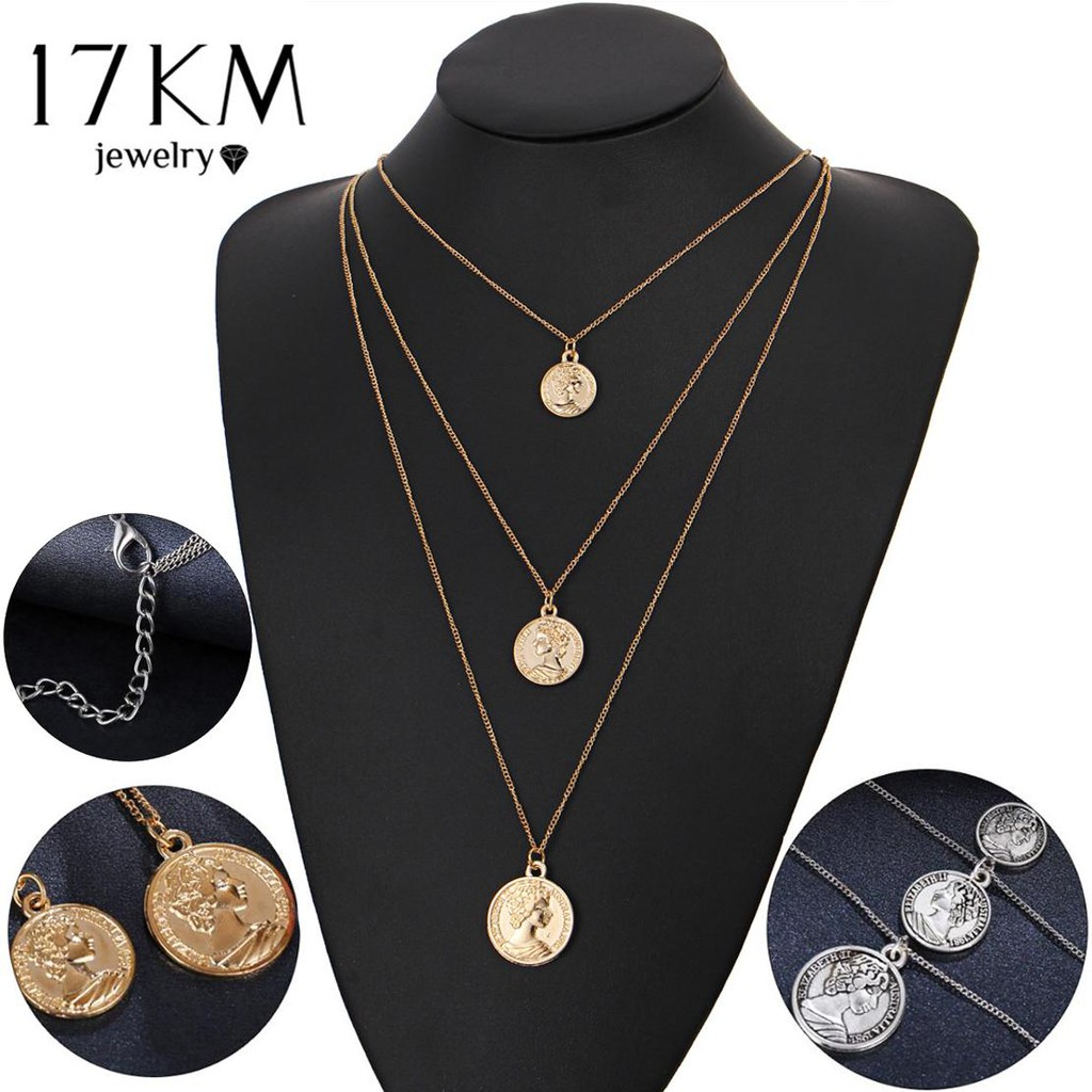 4ee5ff7b541ec Intage Coin Pendant Necklaces for Women Fashion Figure Long Choker Necklace