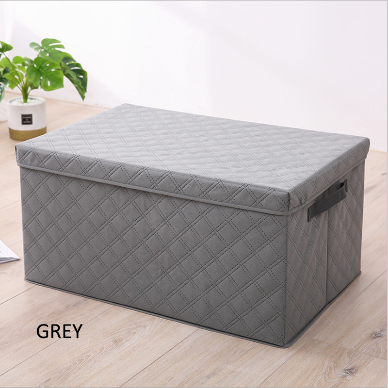GDeal High Capacity Thick Non Woven Fabric Folding Storage Box With Cover Diamond Lattice