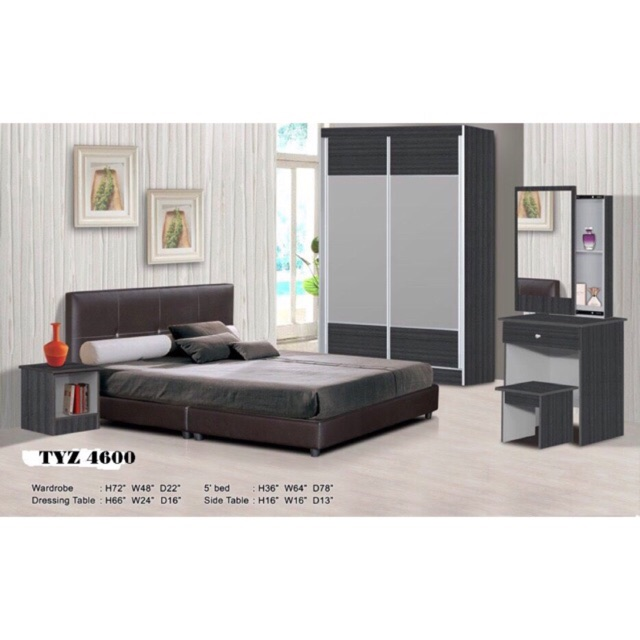 Full Bedroom Set Bedset Furniture Of 5 Items Shopee Malaysia